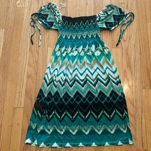 Green Multicolor Summer Dress in Size XL